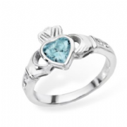 Sterling silver rubover set Aquamarine cubic zirconia claddagh ring